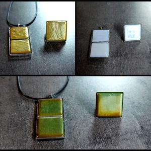 Mozaik medál és gyűrű szett - tégla több színben INGYEN POSTA!, Ékszer, Medál, Nyaklánc, Gyűrű, Ékszerkészítés, Mozaik, Kézzel készült minimalista stílusú mozaik medál és gyűrű szett. Irizáló és fluoreszkáló mozaikokkal...., Meska