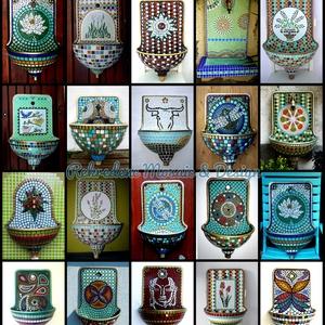 REKREDENC - Mozaik dizájn, felújított régi falikút, kút, Dekoráció, Otthon & lakás, Lakberendezés, Kerti dísz, Mozaik, Mozaikkal díszített, egyedi falikút.\n\nRégi lemez falikutat hasznosítunk újra, mozaik dekorációval. A..., Meska