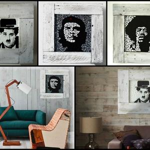 REKREDENC - Hírességek shabby chic keretben, Falra akasztható dekor, Dekoráció, Otthon & Lakás, Famegmunkálás, Mozaik, Mozaik technikával készült falikép hírességekről, fehér shabby chic képkeretben. 60x60 cm\n\nRendelhet..., Meska
