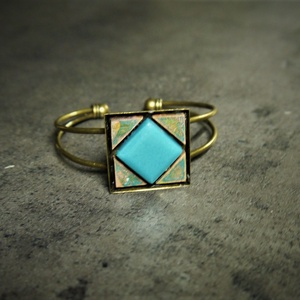 Patinázott réz- és üvegmozaik karkötő   - INGYEN POSTA, Ékszer, Gyűrű, Ékszerkészítés, Mozaik, Patinázott rézmozaikból és üvegmozaikbók kézzel készült karkötő (2,5x2,5 cm)\n\n\nTermékeim között talá..., Meska