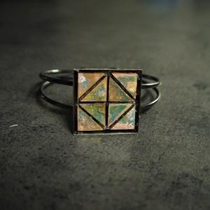 Patinázott rézmozaik karkötő   - INGYEN POSTA, Ékszer, Gyűrű, Ékszerkészítés, Mozaik, Patinázott rézmozaikból kézzel készült karkötő (2,5x2,5 cm)\n\n\nTermékeim között találsz rézmozaik gyű..., Meska