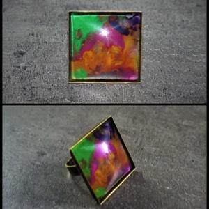 """Festettüveg gyűrű \""""Ősz\"""" (2,5x2,5 cm) - INGYEN POSTA, Ékszer, Gyűrű, Üveglencsés gyűrű, Ékszerkészítés, Festett tárgyak, Kézzel készült, festett üveg gyűrű  (2,5x2,5 cm)\n\nMás színösszeállításban is kérhető. \n\n..., Meska"""