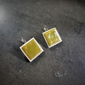 Üvegmozaik fülbevaló több színben  (2,5x2,5cm) - INGYEN POSTA, Ékszer, Fülbevaló, Lógó fülbevaló, Ékszerkészítés, Meska