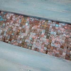 REKREDENC - Patinázott réz mozaik falikép shabby chic keretben, Otthon & Lakás, Dekoráció, Kép & Falikép, Mozaik, Festett tárgyak, Meska