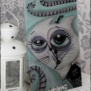 Üveg Falióra, Falióra & óra, Dekoráció, Otthon & Lakás, Üvegművészet, 30x 18 cm-es, egyedi fali üvegóra. , Meska