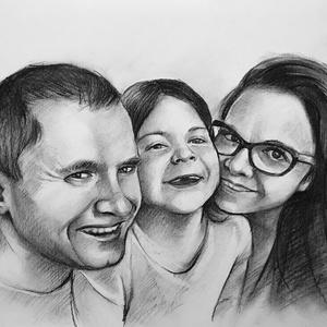 Portré rajzolás / szénceruza - 3 személyes / Ajándékozz szénceruza portrét, Portré, Portré & Karikatúra, Művészet, Fotó, grafika, rajz, illusztráció, Valósághű, kidolgozott, erős dinamikus megjelenést kölcsönöz a portrénak. Minél jobb minőségű fotóra..., Meska