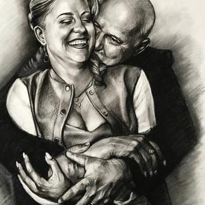 Nászajándék / portré rajzolás / szénceruza - 2 személyes / Ajándékozz szénceruza portrét, Művészet, Portré & Karikatúra, Portré, Fotó, grafika, rajz, illusztráció,  Emlékezetes pillanataink megőrzésének leggyorsabb és legegyszerűbb módja már hosszú évtizedek óta a..., Meska