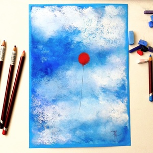 Felhők és lufi..., Képzőművészet, Otthon & lakás, Festmény, Pasztell, Festészet, Fotó, grafika, rajz, illusztráció, pasztell festmény\nA/4, Meska
