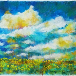 Színtanulmány - nyári felhők..., Otthon & lakás, Képzőművészet, Festmény, Pasztell, Festészet, Fotó, grafika, rajz, illusztráció, pasztell festmény\n30x40 cm, Meska