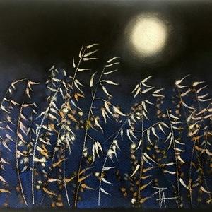 Tanulmány - éjszaka..., Otthon & lakás, Képzőművészet, Festmény, Pasztell, Festészet, Fotó, grafika, rajz, illusztráció, pasztell festmény A/4 A növények háttere végig egyöntetű 'prussian blue', a fotó hibája, hogy a kép..., Meska