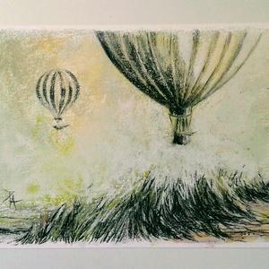 Hőlégballonok..., Otthon & lakás, Képzőművészet, Festmény, Pasztell, Festészet, Fotó, grafika, rajz, illusztráció, pasztell festmény/rajz\nA/4, Meska