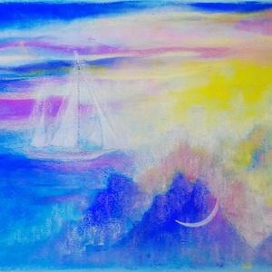 Hajó és hold.., Otthon & lakás, Képzőművészet, Festmény, Pasztell, Festészet, Fotó, grafika, rajz, illusztráció, pasztell festmény\n30x40 cm\nA képen jóval több lila/kék árnyalat van, mint a fotón és egyszerre kontr..., Meska