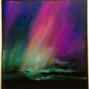 Színtanulmány - északi fény..., Otthon & lakás, Képzőművészet, Festmény, Pasztell, Festészet, Fotó, grafika, rajz, illusztráció, pasztell festmény\n30x29 cm\nA kép színei élőben selymes fényűek, fátyolszerűek, a fotó nem adja vissz..., Meska