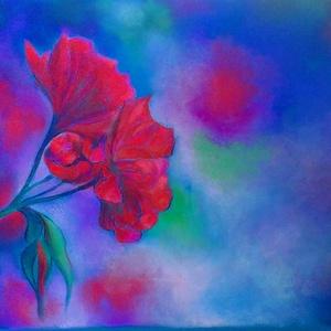 FÉLÁRON A KÉPEK - A kép alatt már a kedvezményes ár látható. Nagyon piros, Otthon & lakás, Képzőművészet, Festmény, Pasztell, Festészet, Fotó, grafika, rajz, illusztráció, pasztell festmény\nA/4\nTöbb árnyalatát is használtam a pirosnak ennél a virágnál. Sajnost a nagyon sz..., Meska
