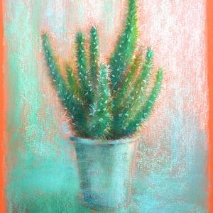 Tanulmány - kaktusz narancsos papíron, Otthon & lakás, Képzőművészet, Festmény, Pasztell, Festészet, Fotó, grafika, rajz, illusztráció, pasztell festmény\nA/4\n, Meska