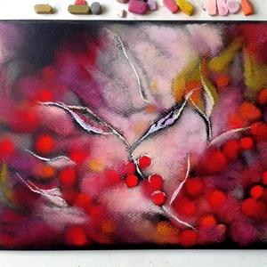 FÉLÁRON A KÉPEK - A kép alatt már a kedvezményes ár látható. Piros bogyók, Otthon & lakás, Képzőművészet, Festmény, Pasztell, Festészet, Fotó, grafika, rajz, illusztráció, pasztell festmény\nA/4\nKülönös, álomszerű, kissé térhatású kép...Pirosat szeretők számára vonzó lehet..., Meska
