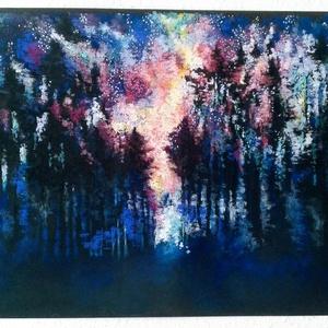FÉLÁRON A KÉPEK - A kép alatt már a kedvezményes ár látható. Csillagos erdő, Otthon & lakás, Képzőművészet, Festmény, Pasztell, Festészet, Fotó, grafika, rajz, illusztráció, pasztell festmény\n50x65 cm\nÉlőben még gazdagabb árnyalatokban..., Meska