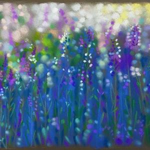 Nyári rét, Művészet, Festmény, Pasztell, pasztell festmény 21x29.8 cm Az egyik idei első festményem. Sötét szürke pasztell papírra készült, h..., Meska