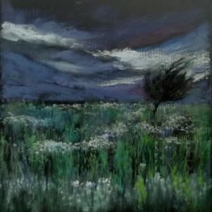 Nyári vihar, Művészet, Festmény, Pasztell, pasztell festmény 30x29 cm A felhők kicsit melegebb lilák, mint ahogy a fotón láthatók. Egy szép fén..., Meska