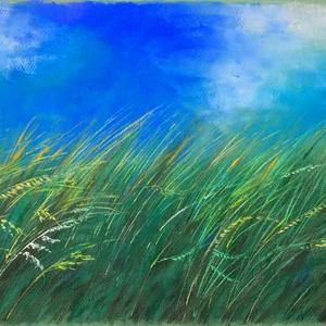 Nyár, Művészet, Festmény, Pasztell, Festészet, Fotó, grafika, rajz, illusztráció, pasztell festmény\n35.7x50 cm\nAz ég kékejei a fotóhoz képest kicsit talán sötétebbek..., Meska