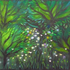 Meseerdő 3., Művészet, Festmény, Pasztell, pasztell festmény 21x29.7 cm Tündér erdő..., Meska