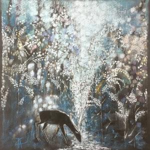 Forrás, Művészet, Festmény, Pasztell, pasztell festmény 30x28.8 cm, Meska