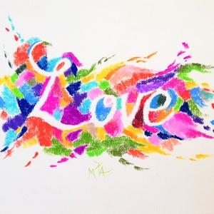 Love , Művészet, Grafika & Illusztráció, pasztell rajz 29.5x42 cm (A fotó színeinek beállítása kicsit talán elvitte a papír színét rózsaszín ..., Meska