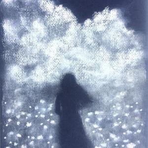 Felhő és rét, Művészet, Festmény, Pasztell, pasztell festmény 29.7x21 cm Finom, bársonyos, emlékszerű hatás..., Meska