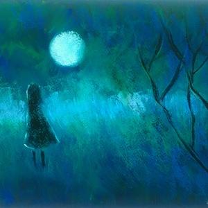 Kislány és a Hold, Művészet, Festmény, Pasztell, pasztell festmény 21x29.7 cm A fotón sajnos kevéssé látszanak a mély, sötét kékes zöldek......, Meska