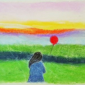 Kis rajz, Művészet, Festmény, Pasztell, pasztell festmény 21x29.7 cm, Meska
