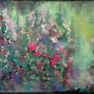 MŰTEREMSÖPRÉS:) Színtanulmány - hajnali kert, Művészet, Festmény, Pasztell, Festészet, Fotó, grafika, rajz, illusztráció, pasztell festmény\nA/4, Meska