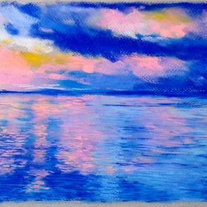 """MŰTEREMSÖPRÉS:) Felhő és tenger, Művészet, Festmény, Pasztell, Festészet, Fotó, grafika, rajz, illusztráció, pasztell festmény\nA/4\n\""""igazi\"""" kis élő táj :), Meska"""