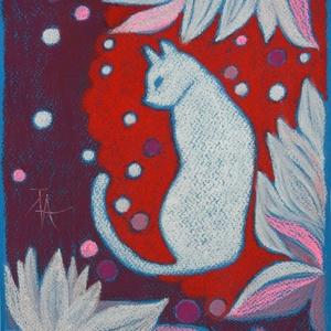 MŰTEREMSÖPRÉS:) Fehér macska, Művészet, Festmény, Pasztell, Festészet, Fotó, grafika, rajz, illusztráció, pasztell festmény\nA/4\nDekoratív, kedves darab :), Meska