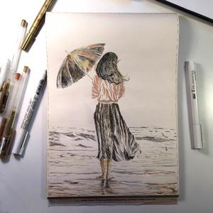 Lány a parton..., Művészet, Grafika & Illusztráció, Festészet, Fotó, grafika, rajz, illusztráció, tus rajz\n21x29.7 cm\nVanília színű vékonyabb papírra készült, a különböző vastagságú fekete tustollak..., Meska