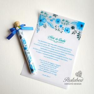 Kémcsöves esküvői meghívó-'Kék akvarell virágok', Esküvő, Naptár, képeslap, album, Meghívó, ültetőkártya, köszönőajándék, Esküvői dekoráció, Fotó, grafika, rajz, illusztráció, Papírművészet, Igazán egyedi és ötletes esküvői meghívó. A palackposta hangulatát idézi. Igazi üveg kémcsőbe felte..., Meska
