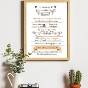 Nagymama és Nagypapa  házirendje, Otthon & lakás, Képzőművészet, Grafika, Illusztráció, Dekoráció, Fotó, grafika, rajz, illusztráció, Mindenmás, Szuper ötletes és megható ajándék nagyszülőknek.\nAz ár A/4-es keret nélküli faliképre értendő. Nagyo..., Meska
