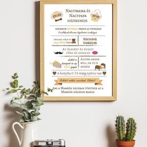 Mama és Papa  házirendje- Figurás, Otthon & lakás, Képzőművészet, Grafika, Illusztráció, Dekoráció, Fotó, grafika, rajz, illusztráció, Mindenmás, Szuper ötletes és megható ajándék nagyszülőknek.\nAz ár A/4-es keret nélküli faliképre értendő. Nagyo..., Meska