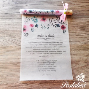Kémcsöves esküvői meghívó-\'Rózsaszín virágos\', Esküvő, Meghívó, ültetőkártya, köszönőajándék, Esküvői dekoráció, Naptár, képeslap, album, Otthon & lakás, Fotó, grafika, rajz, illusztráció, Papírművészet, Igazán egyedi és ötletes esküvői meghívó. A palackposta hangulatát idézi. Igazi üveg kémcsőbe feltek..., Meska
