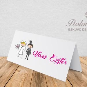 \'Nászpár\' esküvői ültetőkártya, Esküvő, Meghívó, ültetőkártya, köszönőajándék, Esküvői dekoráció, Naptár, képeslap, album, Otthon & lakás, Fotó, grafika, rajz, illusztráció, Papírművészet, Esküvői ültetőkártya jó minőségű bordázott művészpapíron.\nSaját tervezésű és kivitelezésű, minőségi ..., Meska