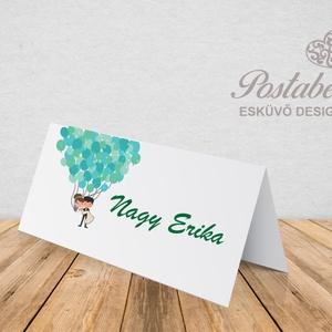 \'Lufis pár\' esküvői ültetőkártya, Esküvő, Meghívó, ültetőkártya, köszönőajándék, Esküvői dekoráció, Naptár, képeslap, album, Otthon & lakás, Fotó, grafika, rajz, illusztráció, Papírművészet, Esküvői ültetőkártya jó minőségű bordázott művészpapíron.\nSaját tervezésű és kivitelezésű, minőségi ..., Meska