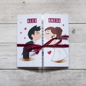 Csókolózó pár- esküvői meghívó, Meghívó, Meghívó & Kártya, Esküvő, Fotó, grafika, rajz, illusztráció, Papírművészet, Aranyos grafika került erre a meghívóra, középen lehet kettényitni, így amikor becsukják a meghívót ..., Meska