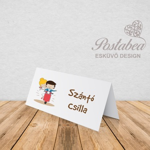 \'Robogós pár\' esküvői ültetőkártya, Esküvő, Meghívó, ültetőkártya, köszönőajándék, Esküvői dekoráció, Naptár, képeslap, album, Otthon & lakás, Fotó, grafika, rajz, illusztráció, Papírművészet, Esküvői ültetőkártya jó minőségű bordázott művészpapíron.\nSaját tervezésű és kivitelezésű, minőségi ..., Meska