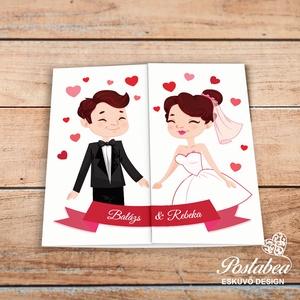 Kézfogós pár - esküvői meghívó, Meghívó, Meghívó & Kártya, Esküvő, Fotó, grafika, rajz, illusztráció, Papírművészet, Aranyos grafika került erre a meghívóra, középen lehet kettényitni, így amikor becsukják a meghívót ..., Meska
