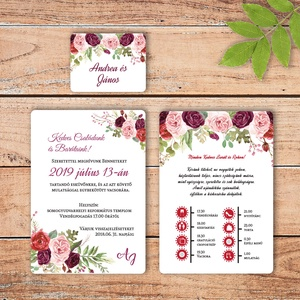 Bordó rózsás modern esküvői meghívó borítékkal, Esküvő, Meghívó, ültetőkártya, köszönőajándék, Esküvői dekoráció, Naptár, képeslap, album, Otthon & lakás, Fotó, grafika, rajz, illusztráció, Papírművészet, Modern, amerikai stílusú esküvői meghívó. 250 gr-os bordázott művészpapíron, jó minőségű, szép bordó..., Meska