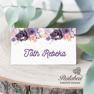 Lila akvarell virágos esküvői ültetőkártya, Ültetési rend, Meghívó & Kártya, Esküvő, Fotó, grafika, rajz, illusztráció, Papírművészet, Esküvői ültetőkártya jó minőségű bordázott művészpapíron.\nSaját tervezésű és kivitelezésű, minőségi ..., Meska