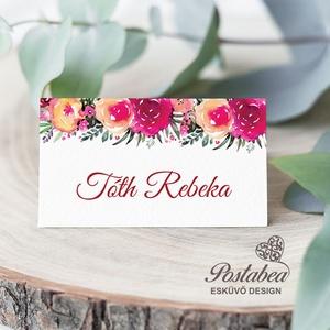 Marsala akvarell virágos esküvői ültetőkártya, Esküvő, Meghívó, ültetőkártya, köszönőajándék, Esküvői dekoráció, Naptár, képeslap, album, Otthon & lakás, Fotó, grafika, rajz, illusztráció, Papírművészet, Esküvői ültetőkártya jó minőségű bordázott művészpapíron.\nSaját tervezésű és kivitelezésű, minőségi ..., Meska