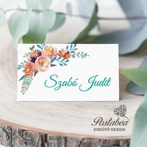 Virágözön esküvői ültetőkártya, Esküvő, Meghívó, ültetőkártya, köszönőajándék, Esküvői dekoráció, Naptár, képeslap, album, Otthon & lakás, Fotó, grafika, rajz, illusztráció, Papírművészet, Esküvői ültetőkártya jó minőségű bordázott művészpapíron.\nSaját tervezésű és kivitelezésű, minőségi ..., Meska