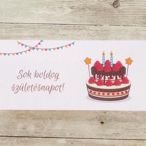 Szülinapi pénzátadó boríték eper tortás, Boríték, Papír írószer, Otthon & Lakás, Papírművészet, Fotó, grafika, rajz, illusztráció, Ha szeretnél pénzt ajándékozni születésnapra, de nem akarod csak egy sima, snassz borítékba belerakn..., Meska