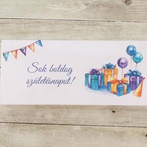 Szülinapi pénzátadó boríték kék selyemszalaggal, Boríték, Papír írószer, Otthon & Lakás, Papírművészet, Fotó, grafika, rajz, illusztráció, Ha szeretnél pénzt ajándékozni születésnapra, de nem akarod csak egy sima, snassz borítékba belerakn..., Meska