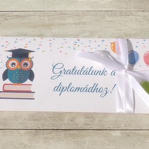 Diplomaosztóra pénzátadó boríték baglyos, Boríték, Papír írószer, Otthon & Lakás, Papírművészet, Fotó, grafika, rajz, illusztráció, Ha szeretnél pénzt ajándékozni diplomaosztóra, de nem akarod csak egy sima, snassz borítékba belerak..., Meska
